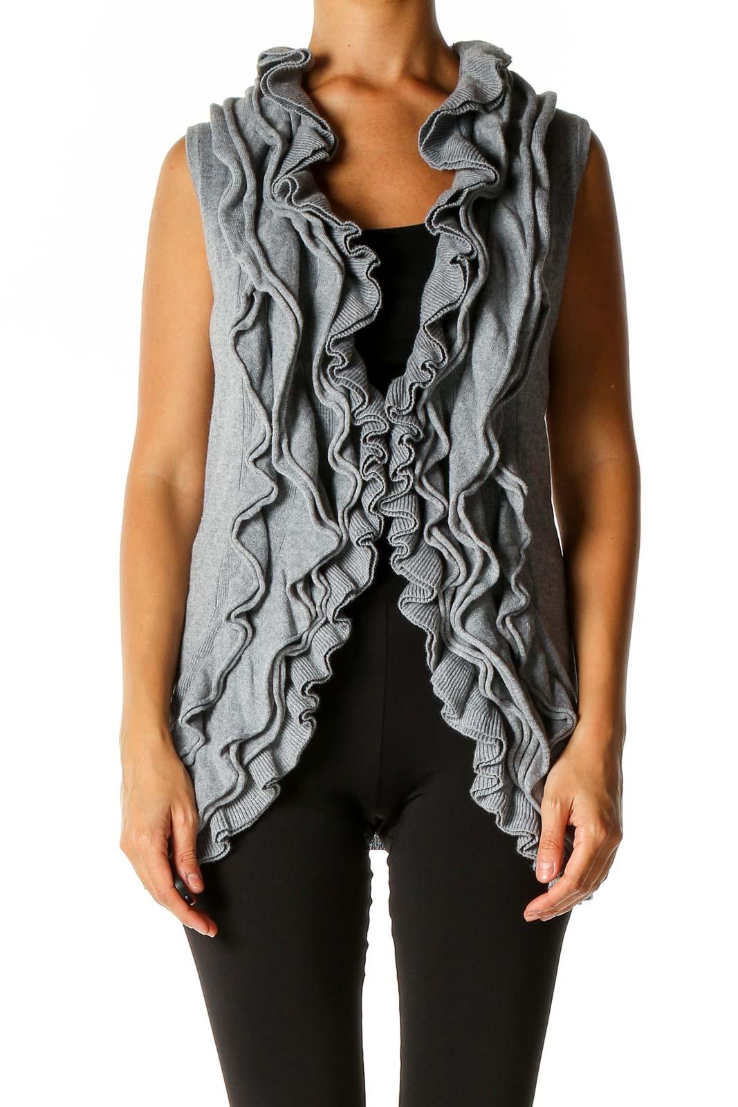 Gray Cardigan Front