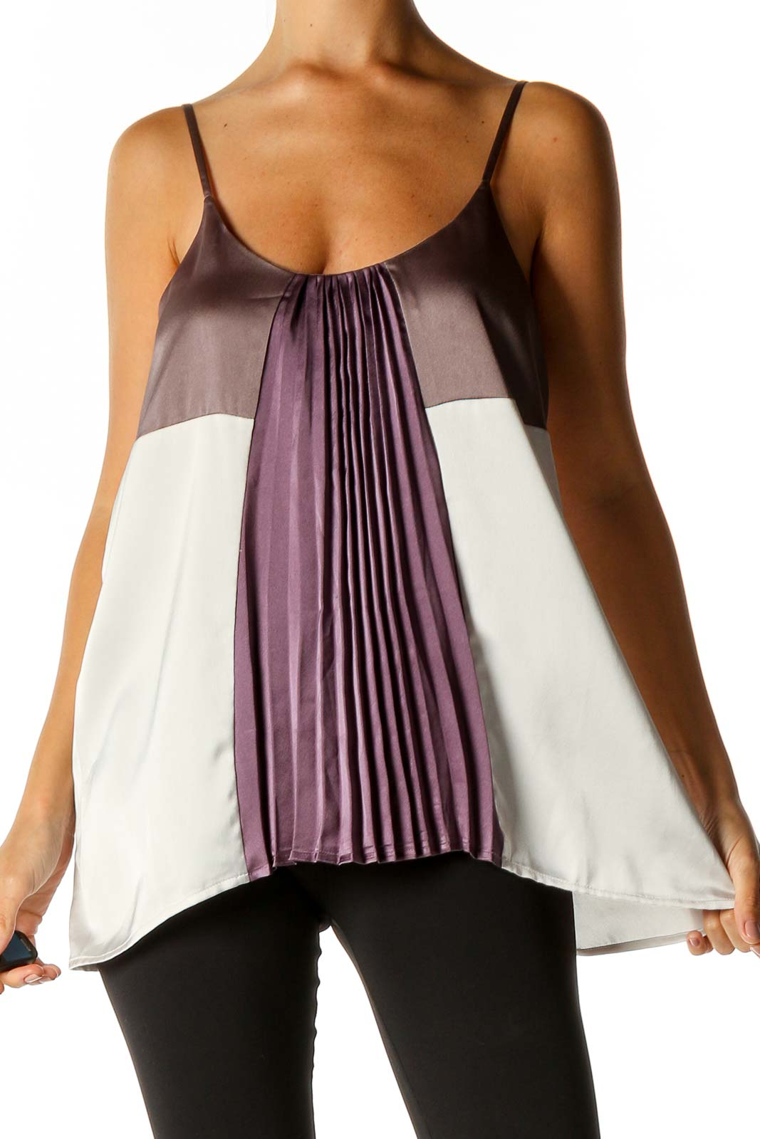 Purple Solid Brunch Blouse Front