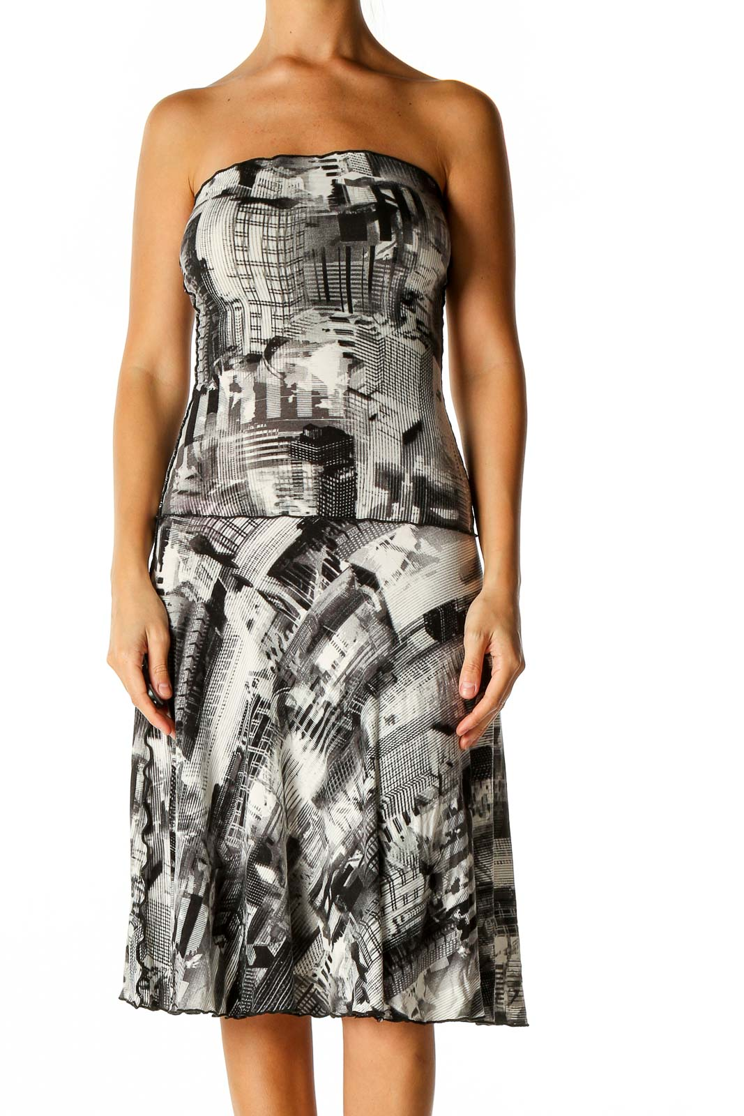 Beige Graphic Print Fit & Flare Dress Front