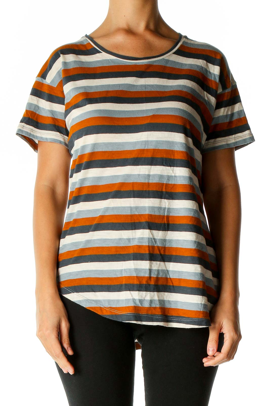 Orange Striped All Day Wear T-Shirt Front