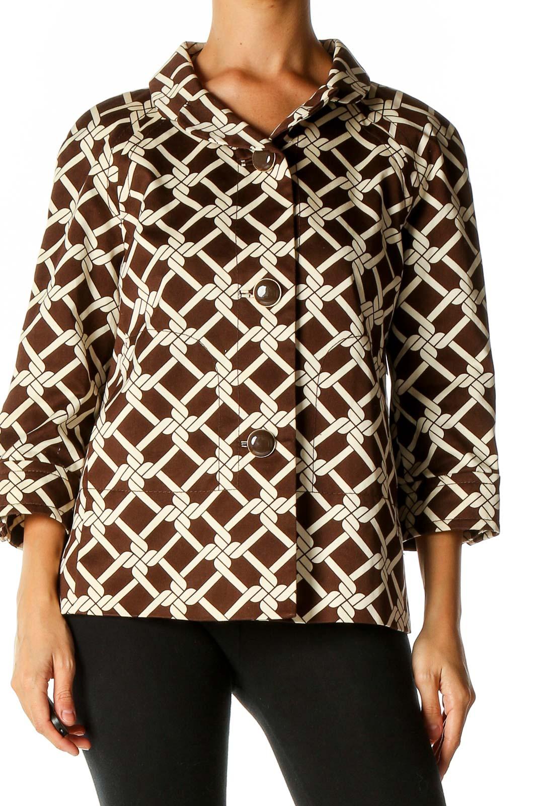 Brown Printed Coat Front