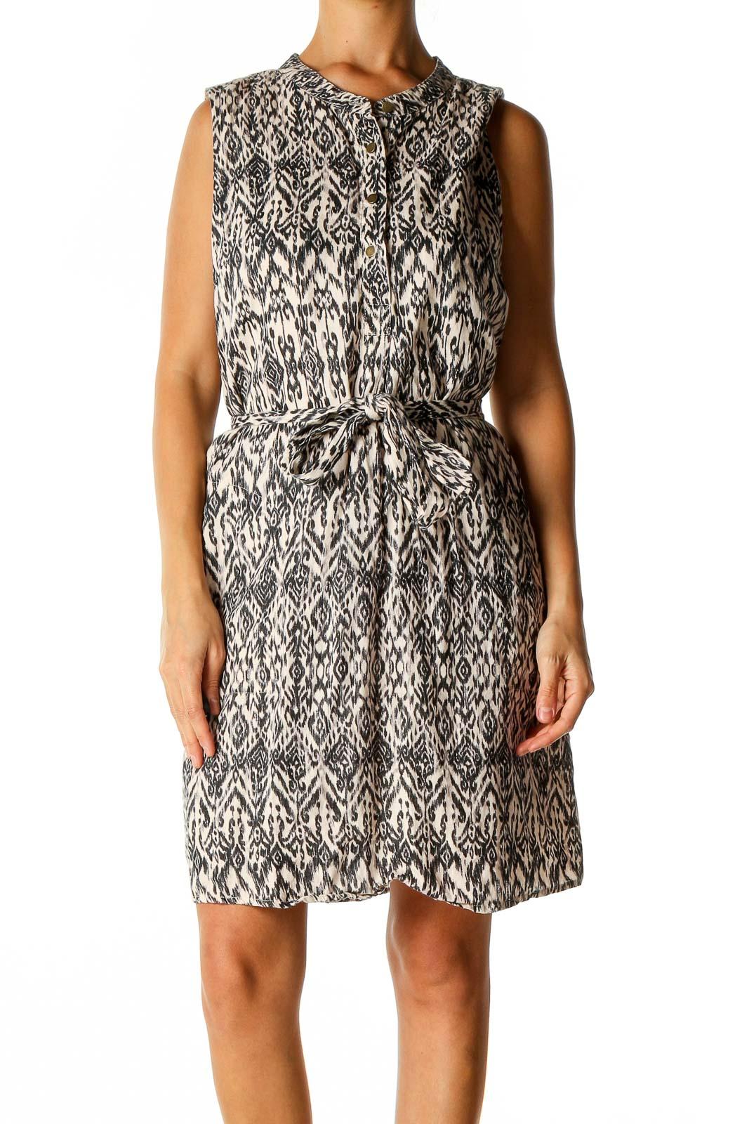 Beige Printed Bohemian Sheath Dress Front