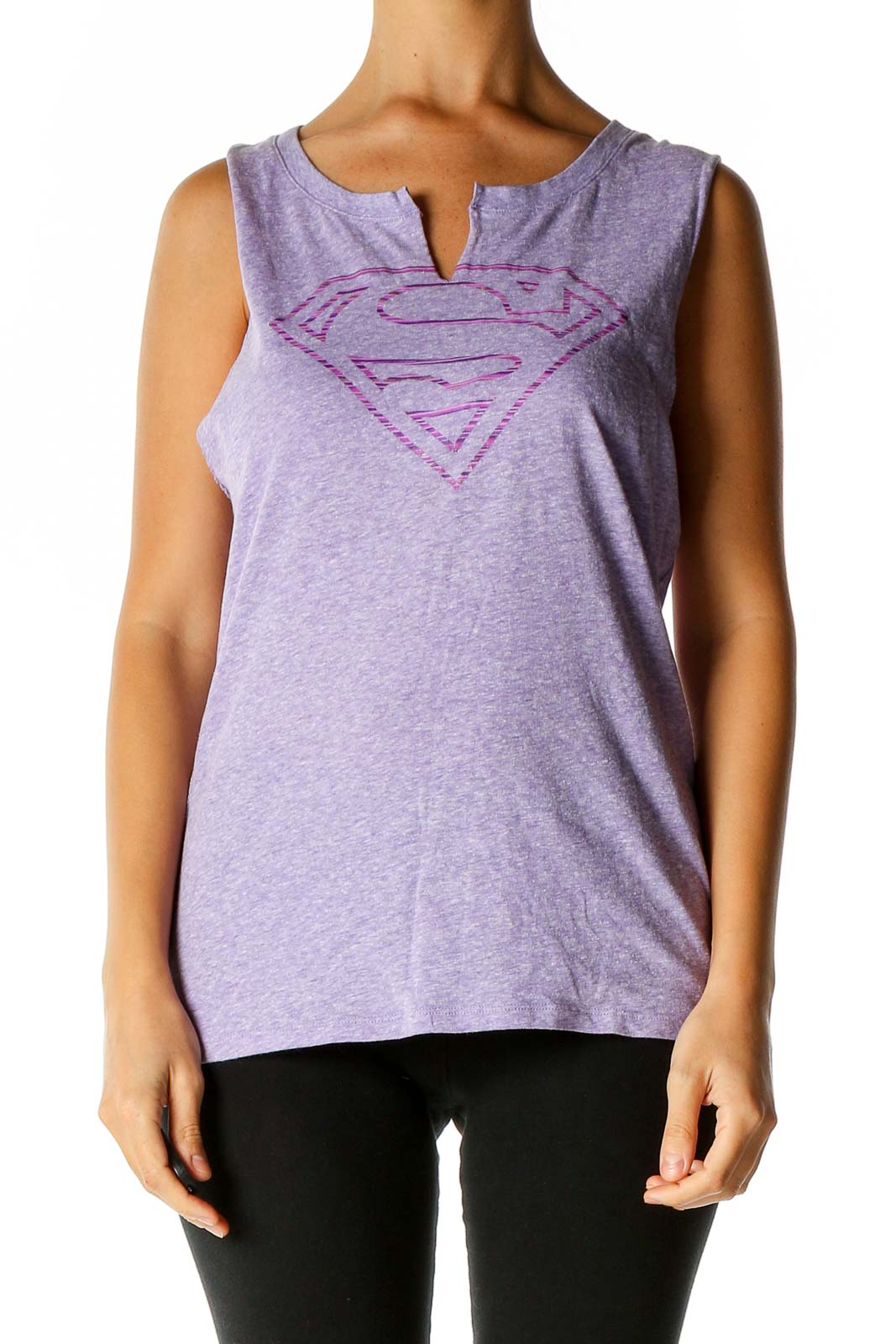 Purple Solid Activewear Tank Top Front