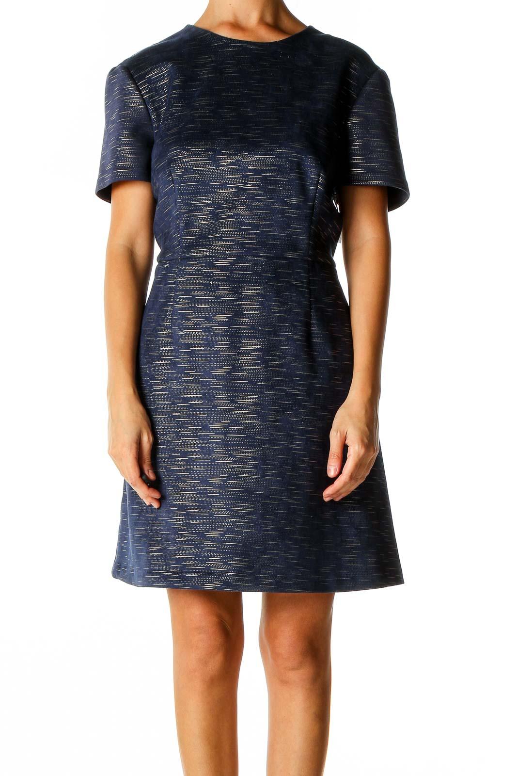 Blue Classic Sheath Dress Front