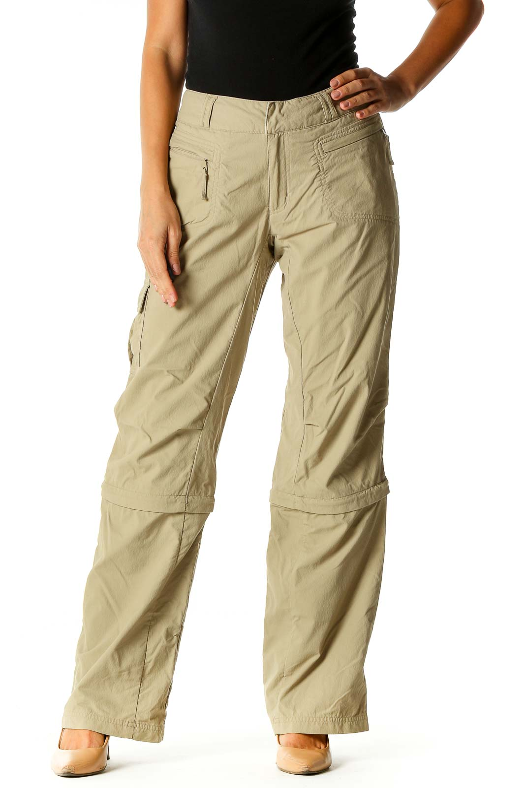 Beige Solid Casual Cargos Pants Front