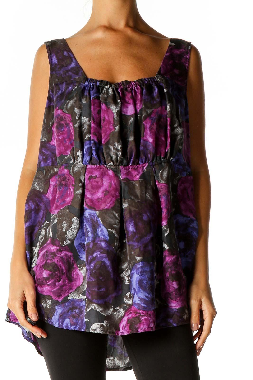 Purple Floral Print Bohemian Blouse Front