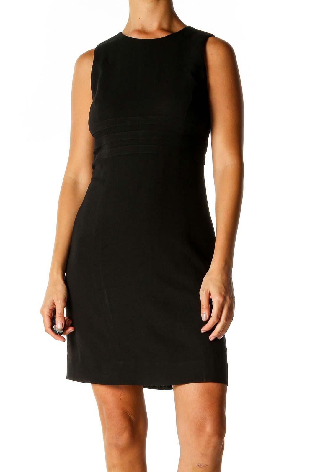 Black Solid Classic Sheath Dress Front