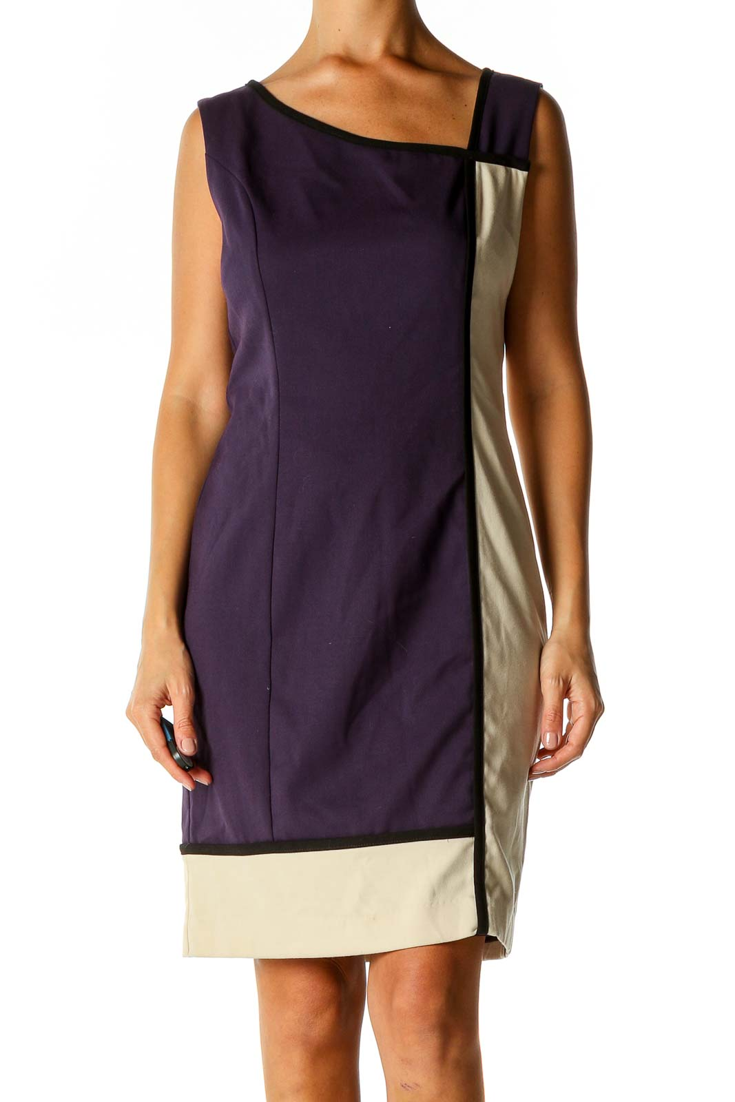 Purple Colorblock Classic Sheath Dress Front