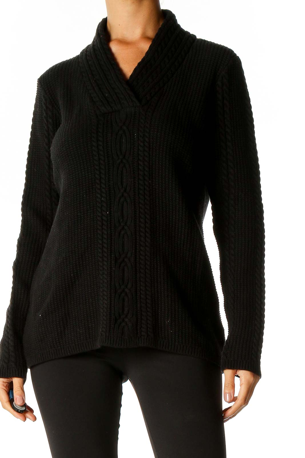 Black Textured Classic Sweater Front