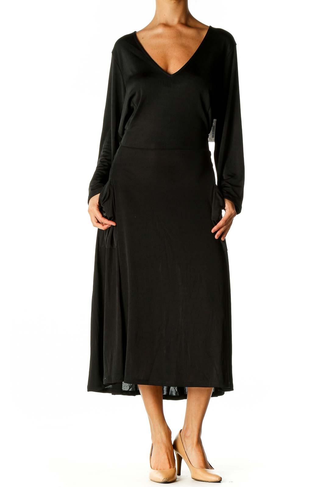 Black Solid Day Column Dress Front