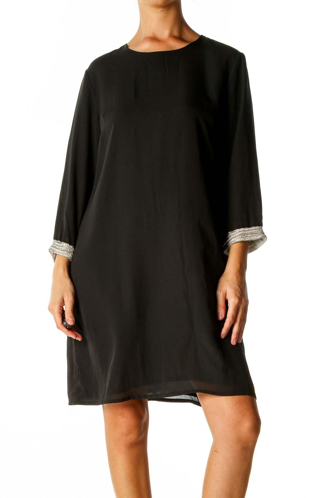 Black Solid Classic Shift Dress Front