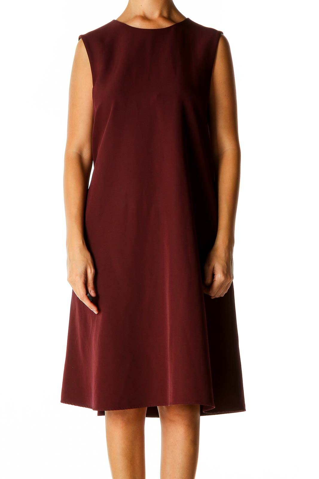 Red Solid Classic A-Line Dress Front