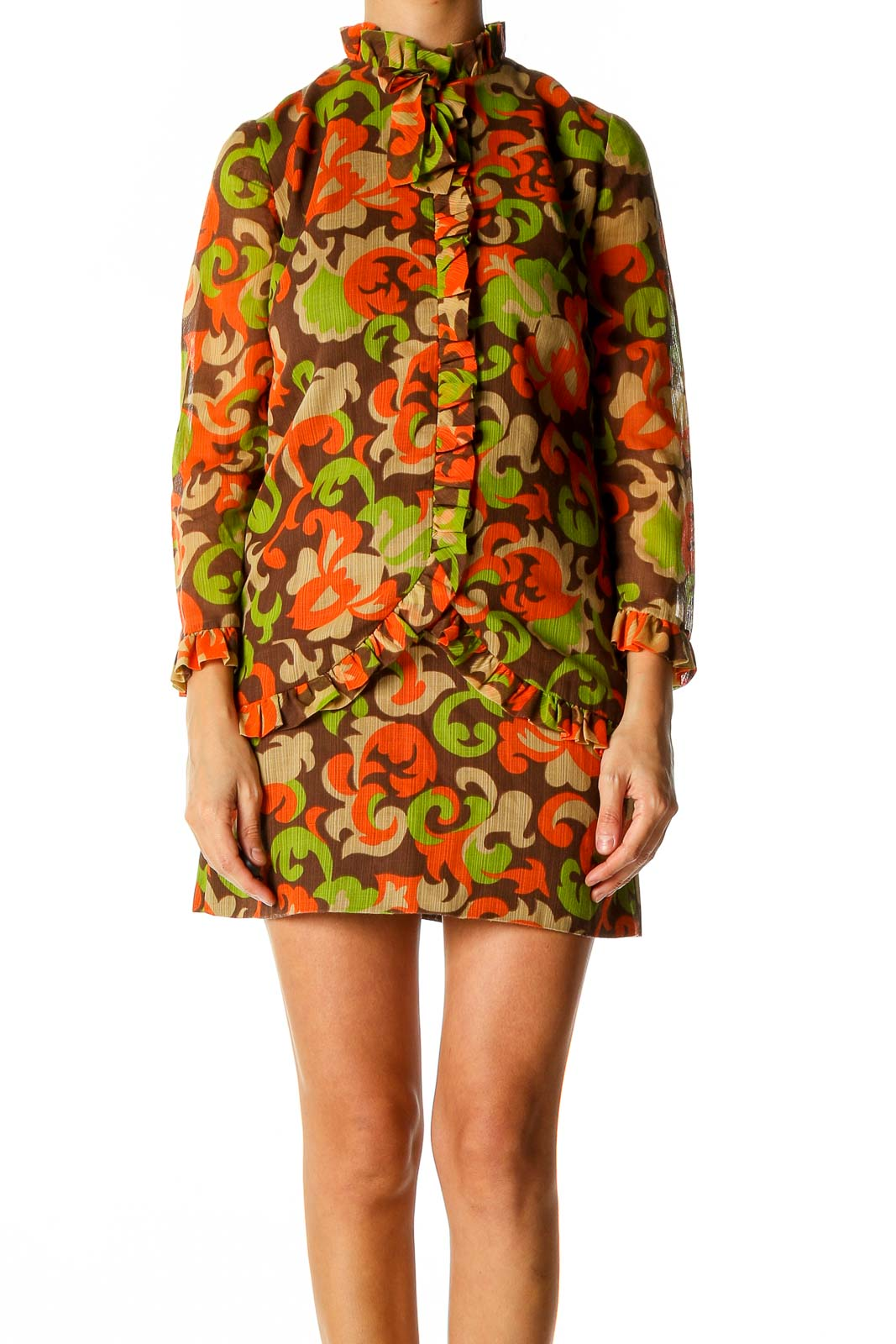 Red Graphic Print Retro Shift Dress Front