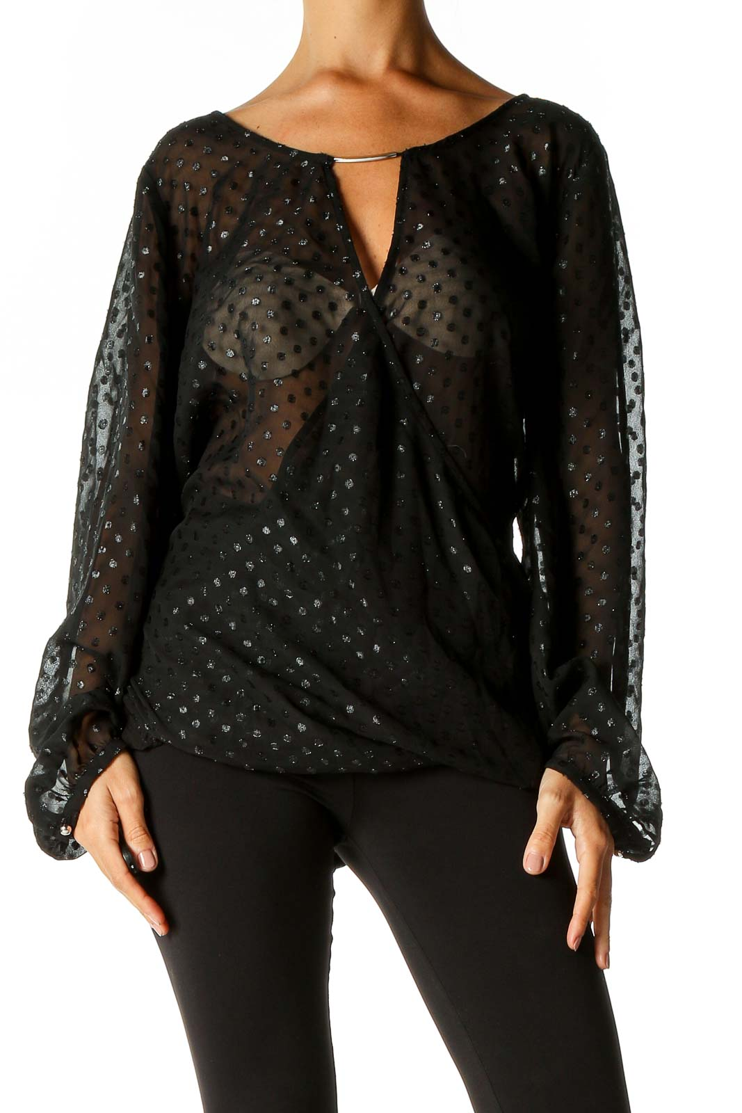 Black Textured Party Wear Blouse Front