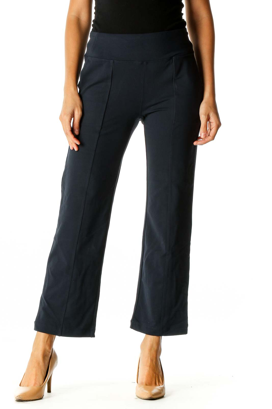 Blue Solid Activewear Trousers Front