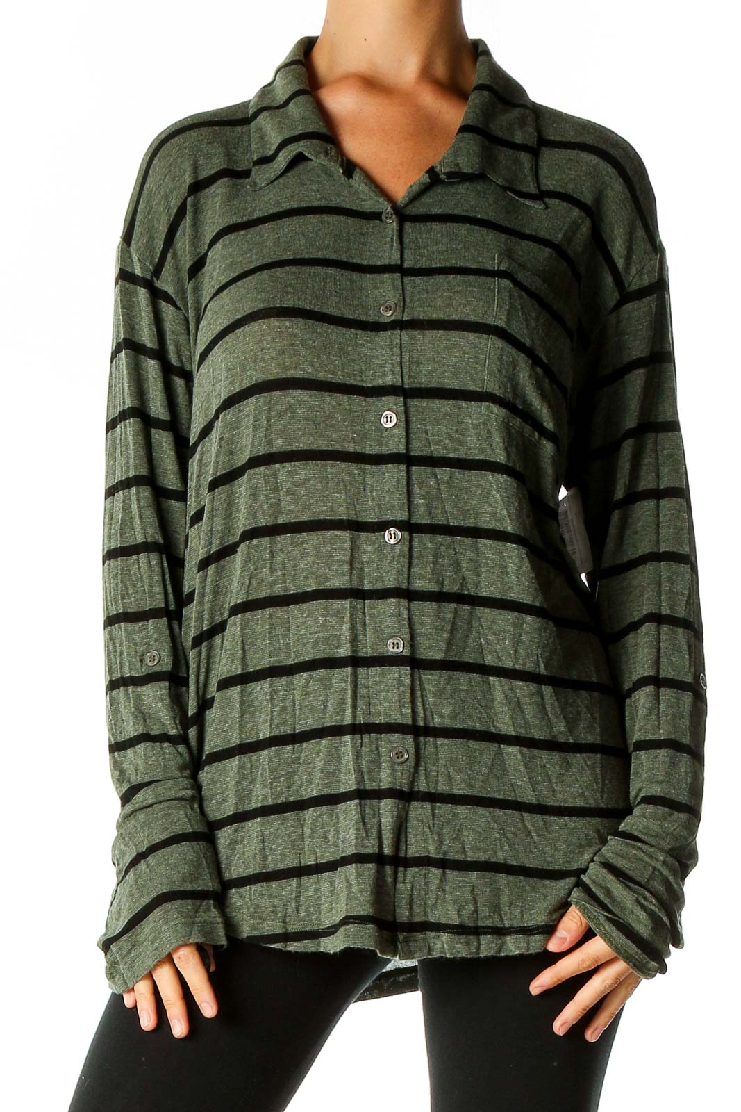 Green Striped All Day Wear Shirt Front