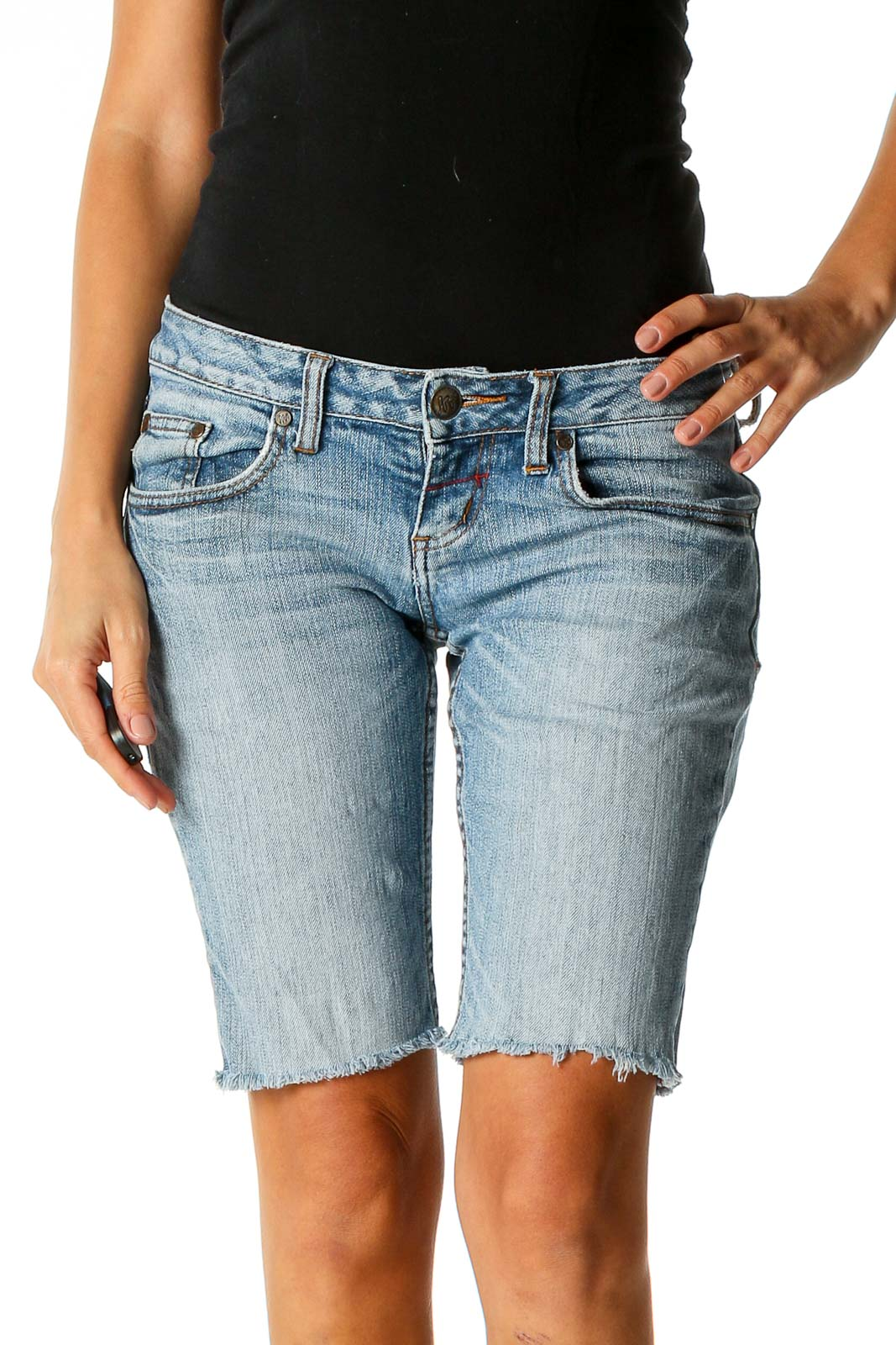 Blue Textured Punk Shorts Front