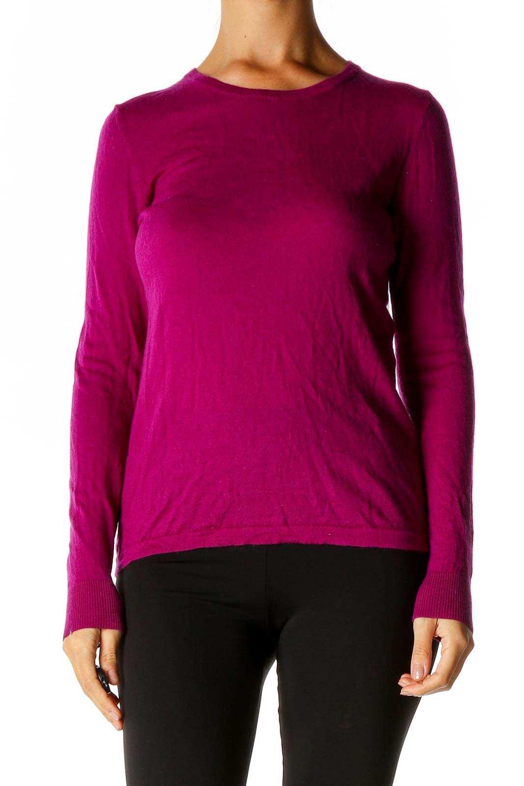 Pink Solid Sweater Front