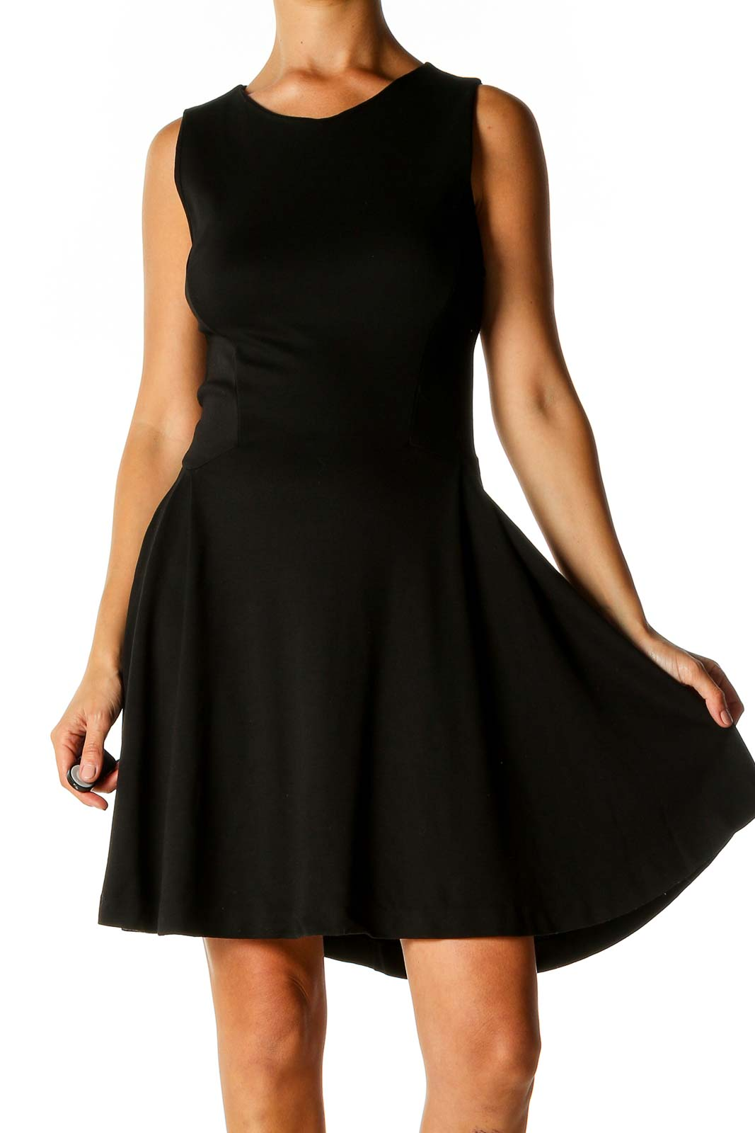 Black Solid Classic Fit & Flare Dress Front