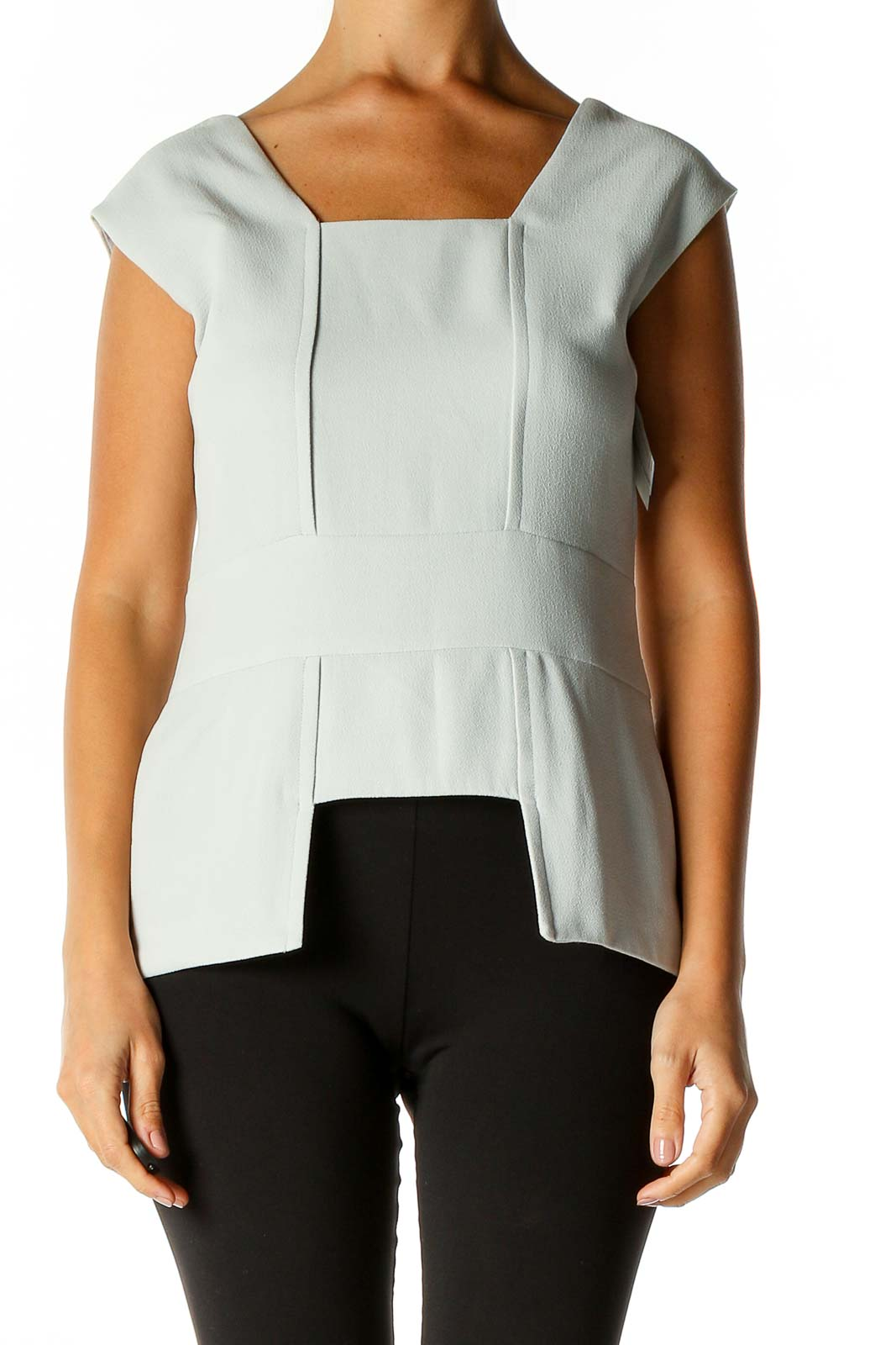 Gray Solid Classic Blouse Front