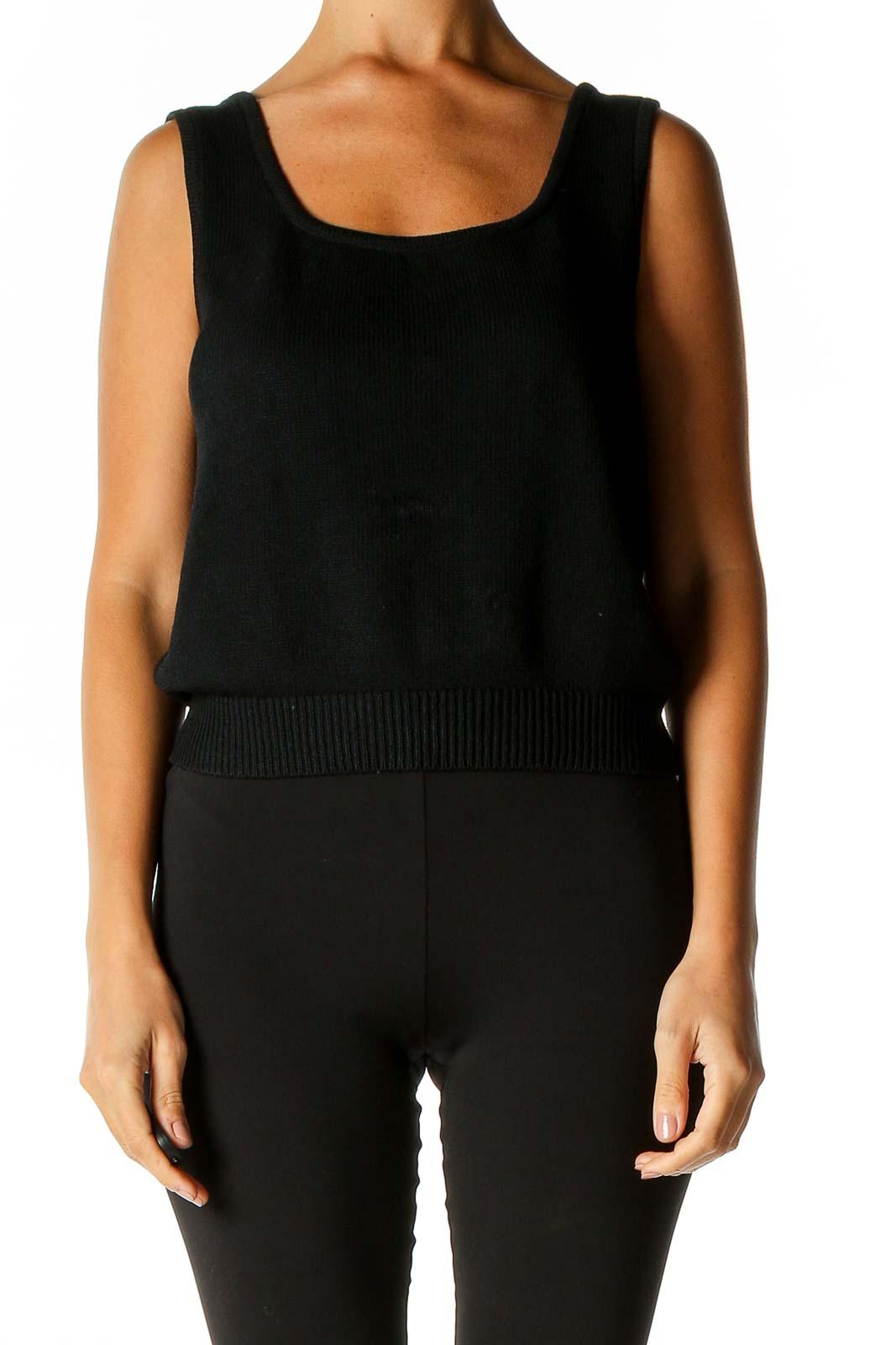 Black Solid Retro Sweater Front