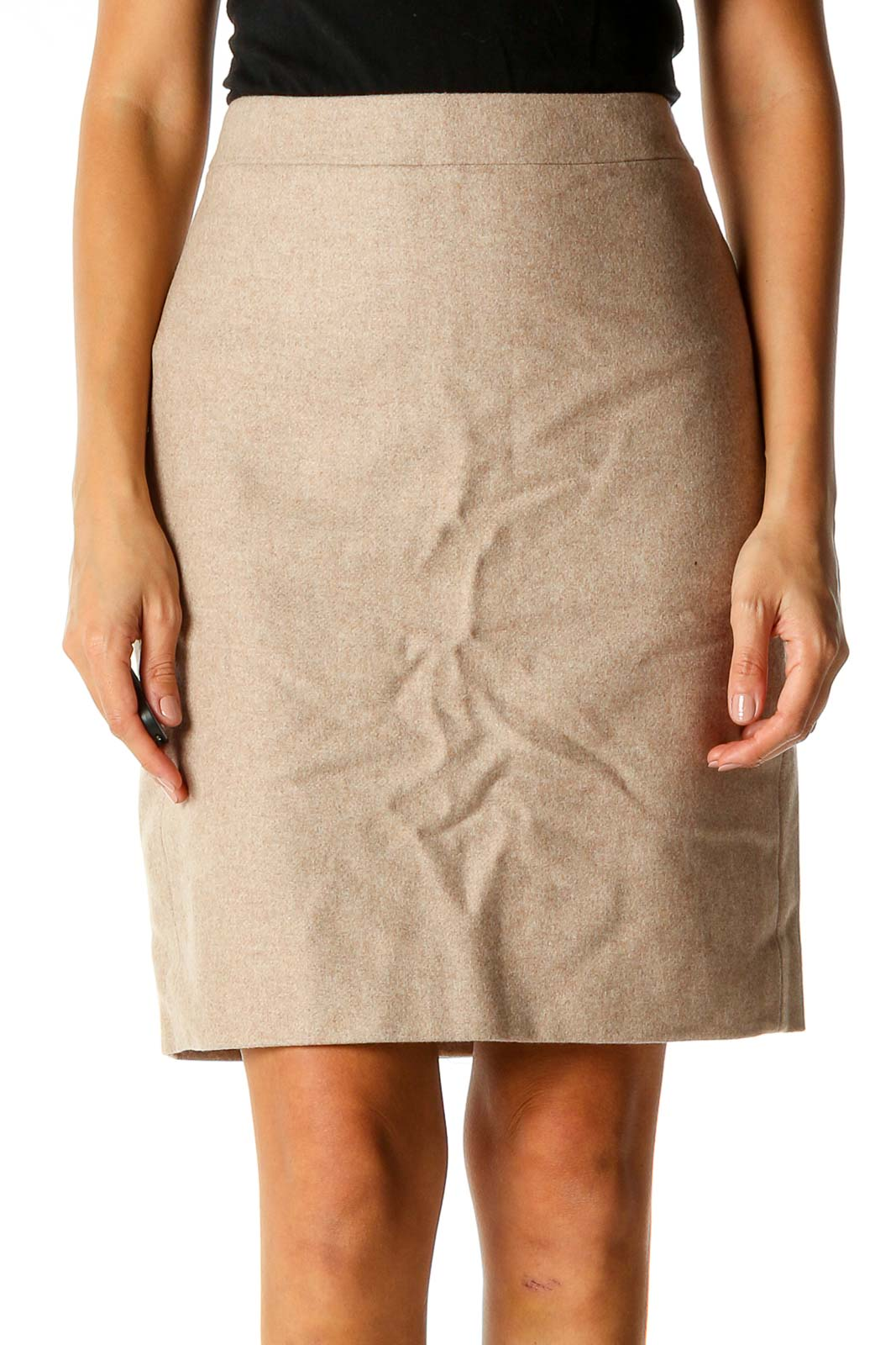 Beige Textured Classic Pencil Skirt Front