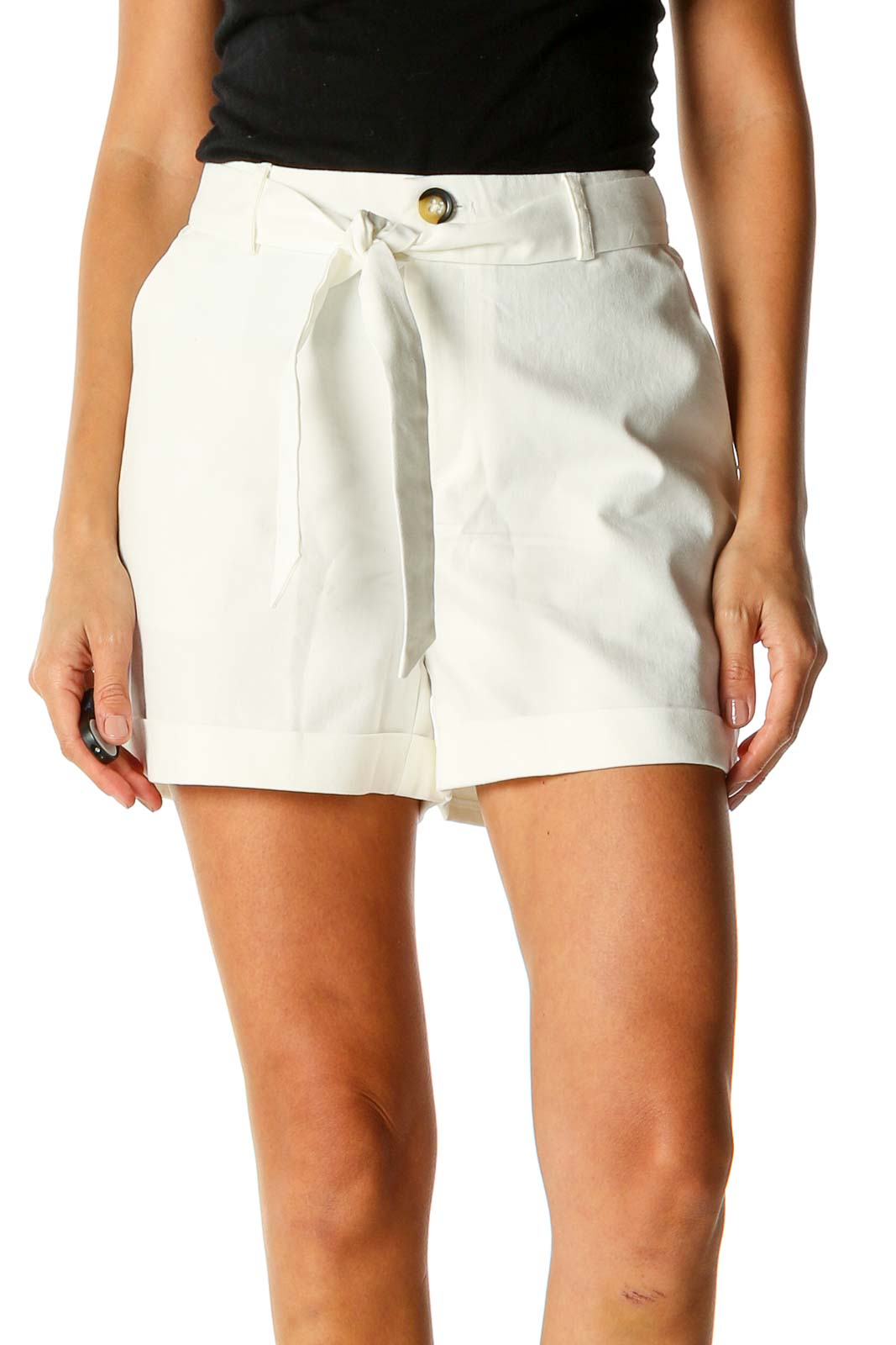 White Chic Shorts Front