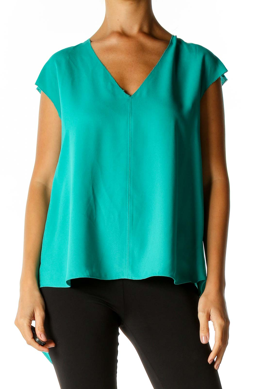 Green Solid Brunch Blouse Front