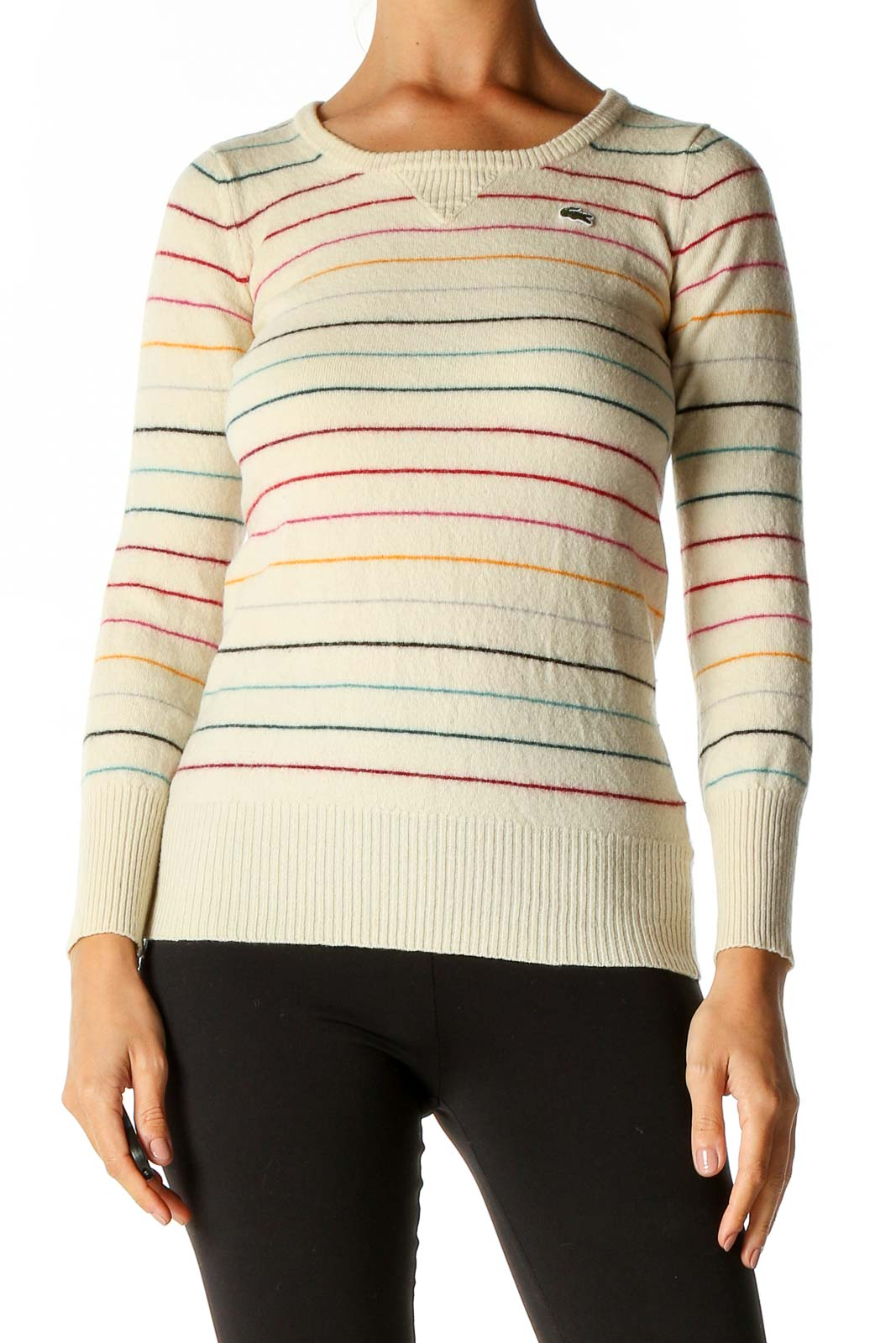 Beige Striped Classic Sweater Front
