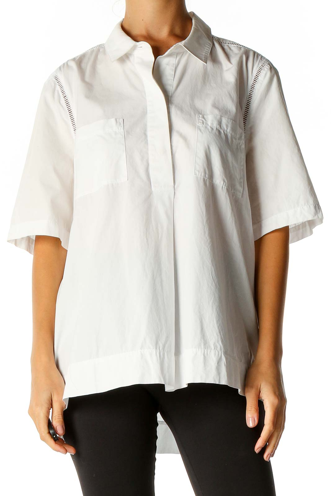 White Solid Casual Shirt Front