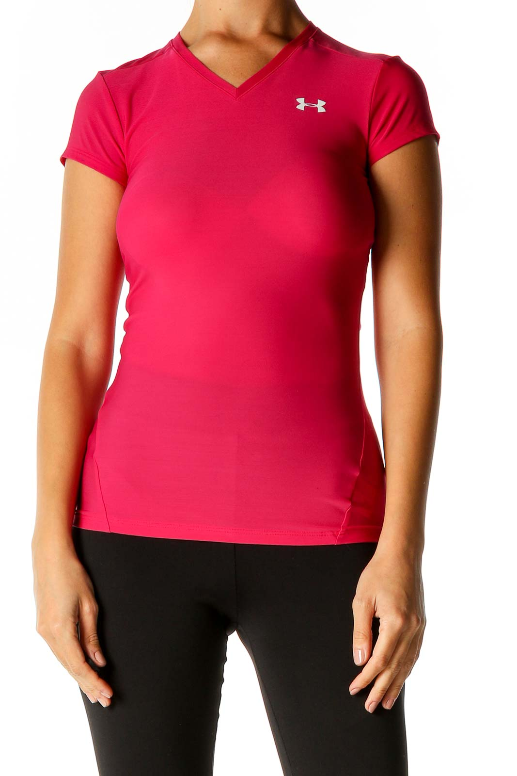 Pink Solid Activewear Polo Shirt Front