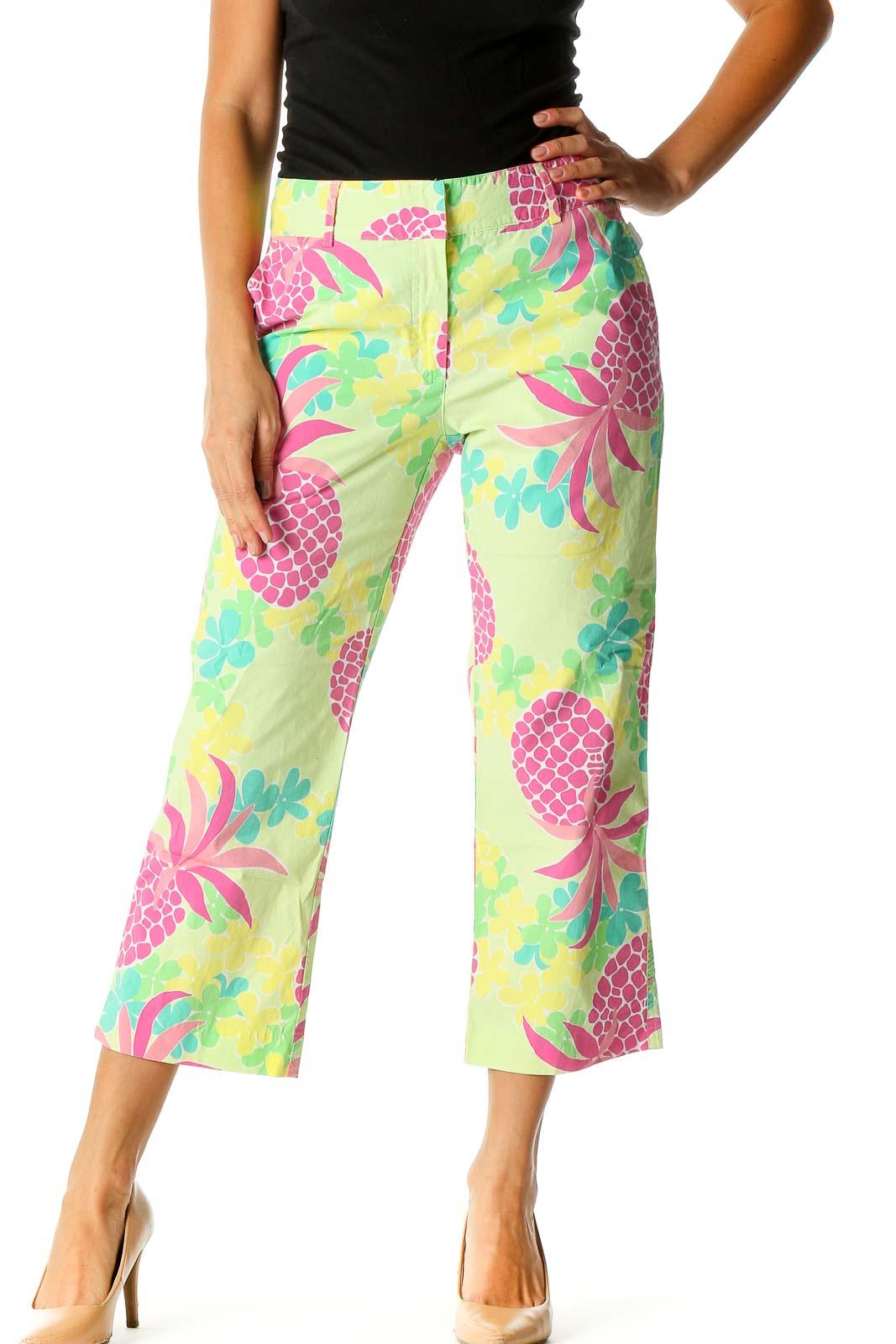 Green Tropical Print Brunch Pants Front