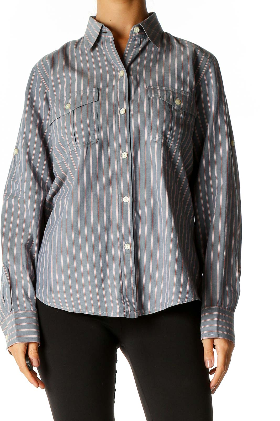 Gray Striped Semiformal Shirt Front