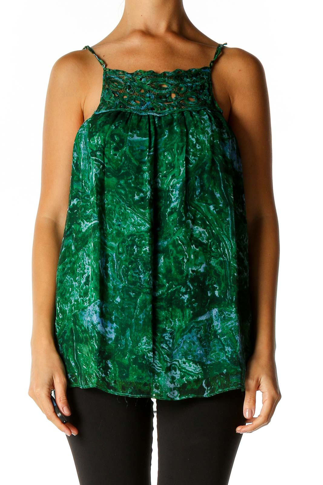Green Holiday Blouse Front