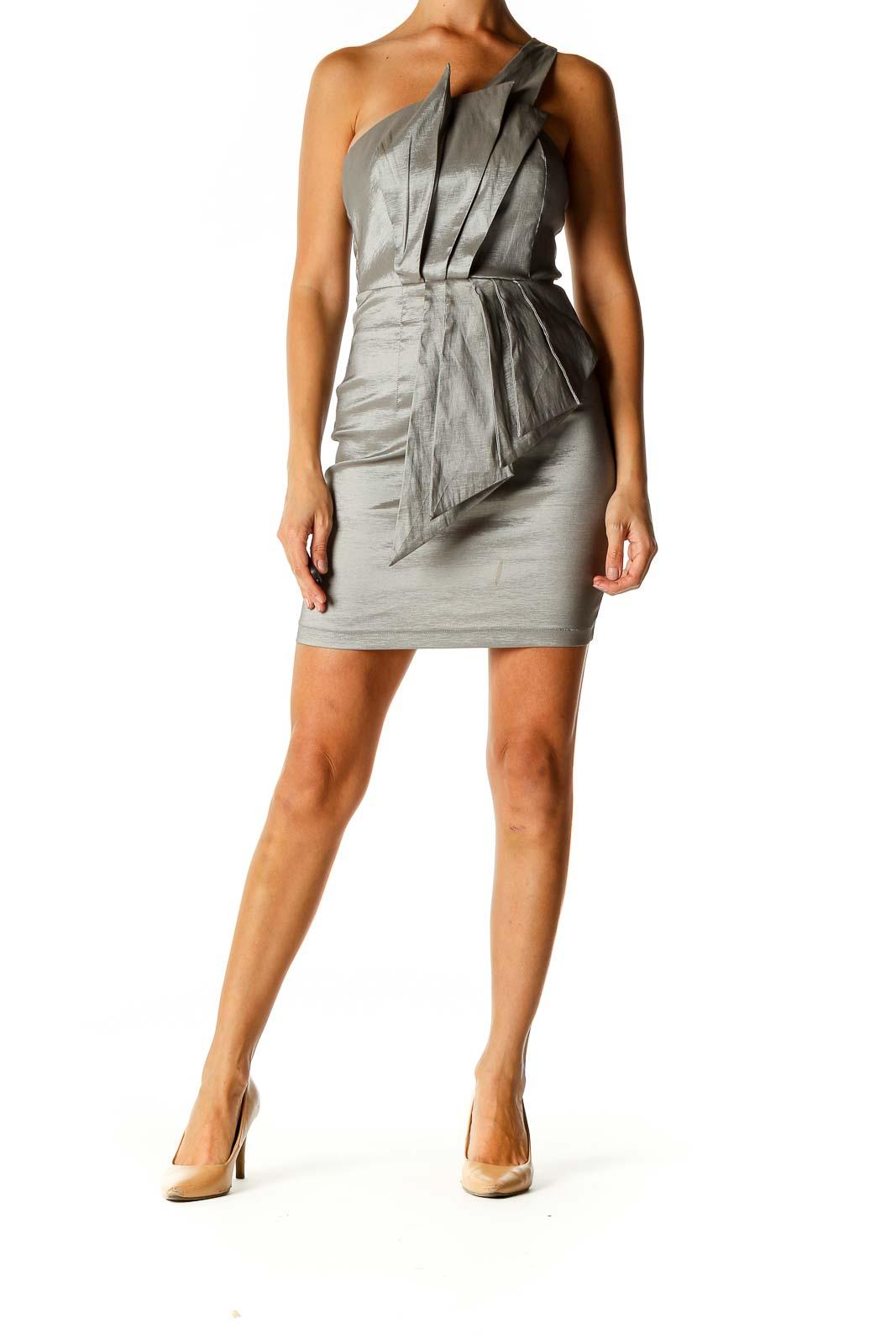 Gray Solid Punk Sheath Dress Front