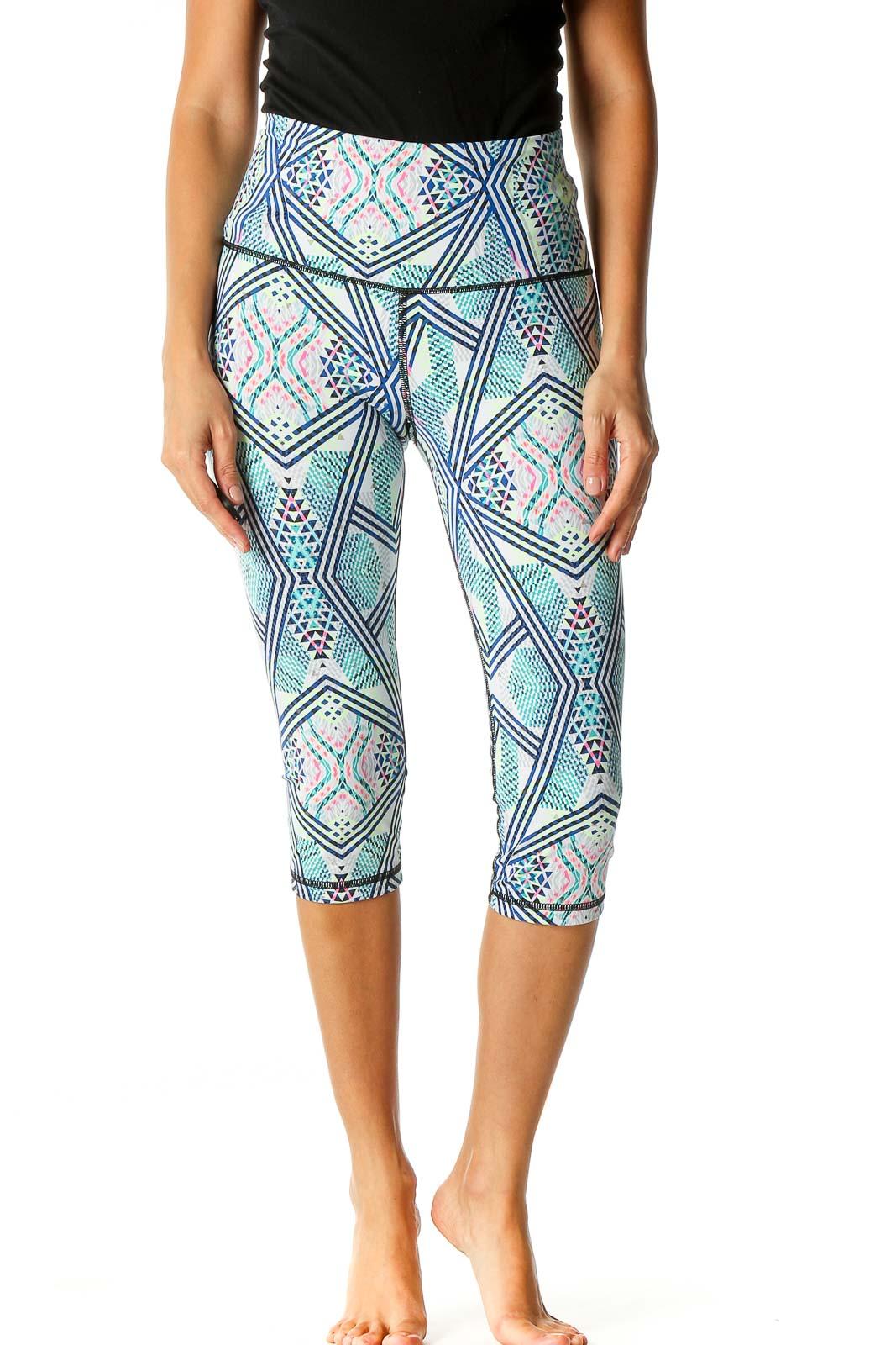 Green Aztec Print Casual Leggings Front