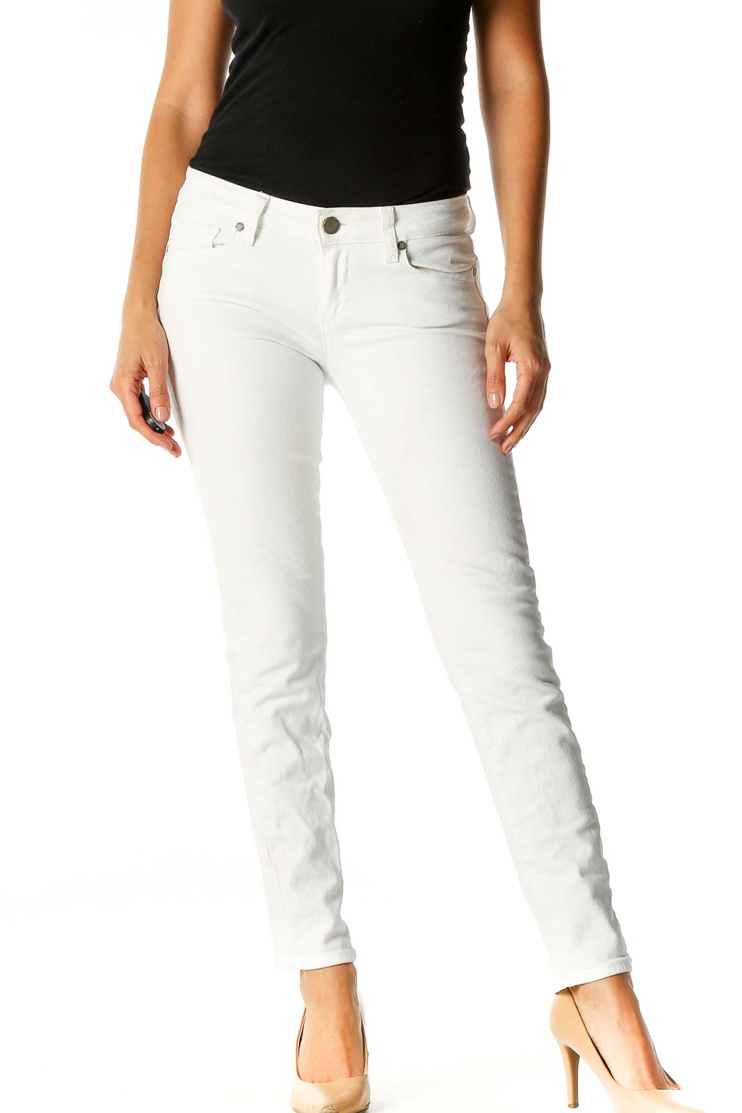 White Solid Casual Sweatpants Front