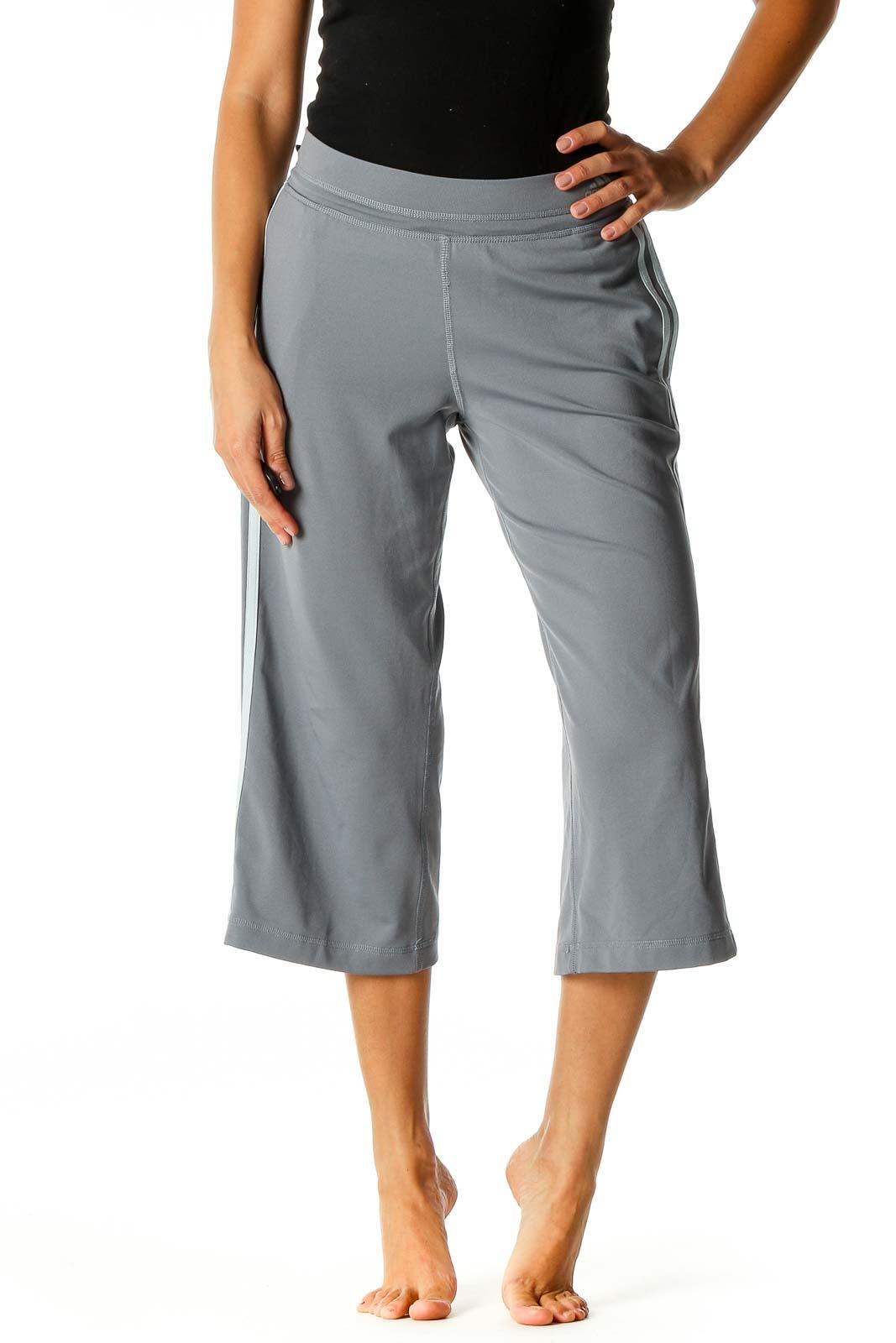 Gray Solid Activewear Capri Pants Front