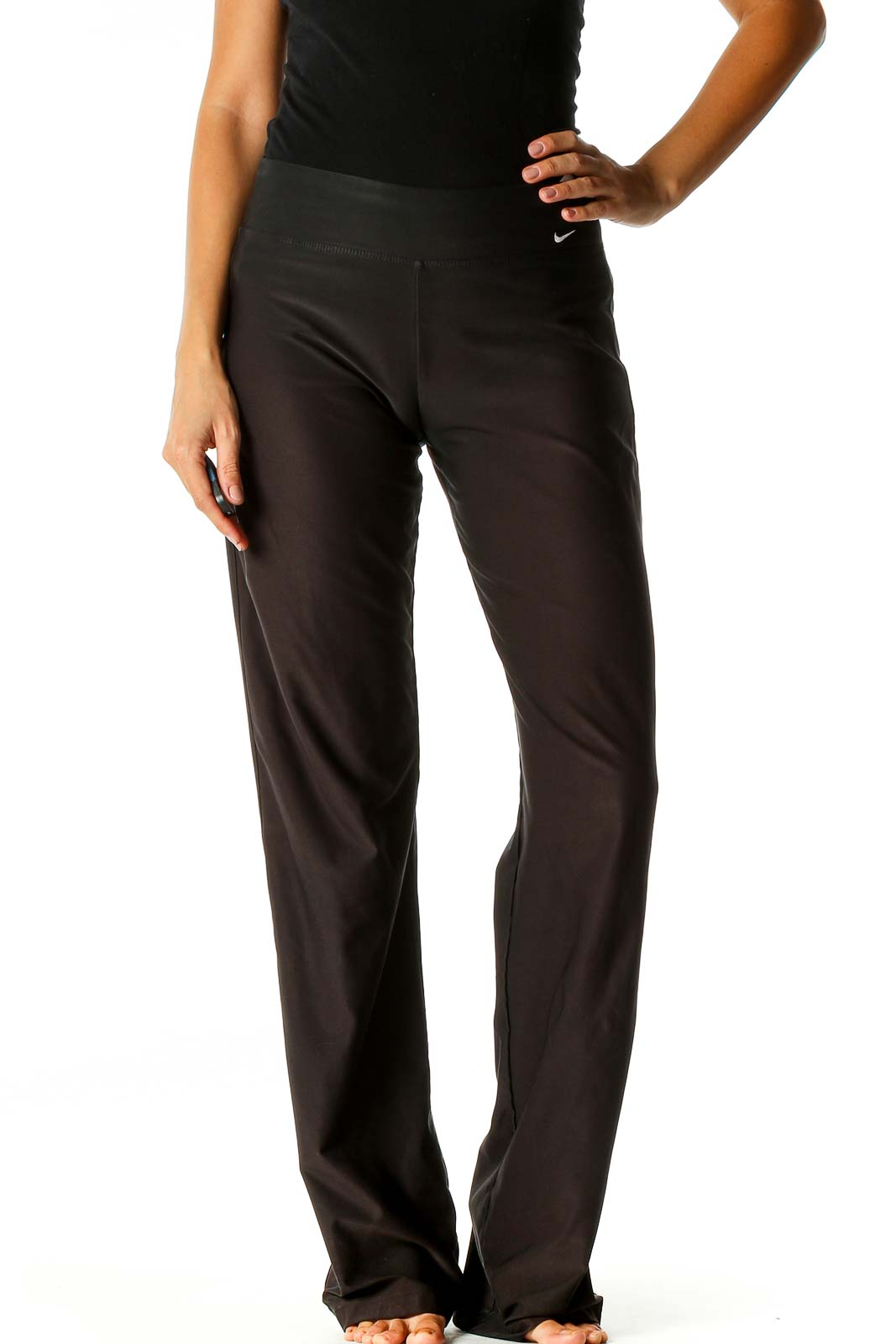 Black Solid Casual Trousers Front