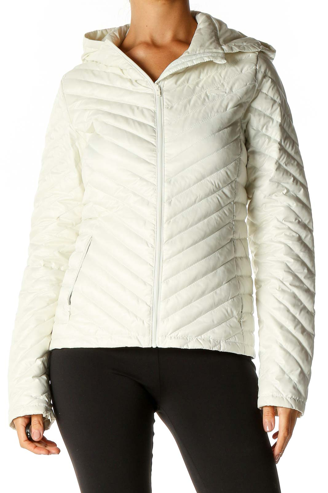 White Puffer Jacket Front