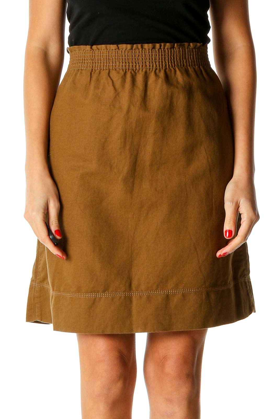 Brown All Day Wear A-Line Skirt Front