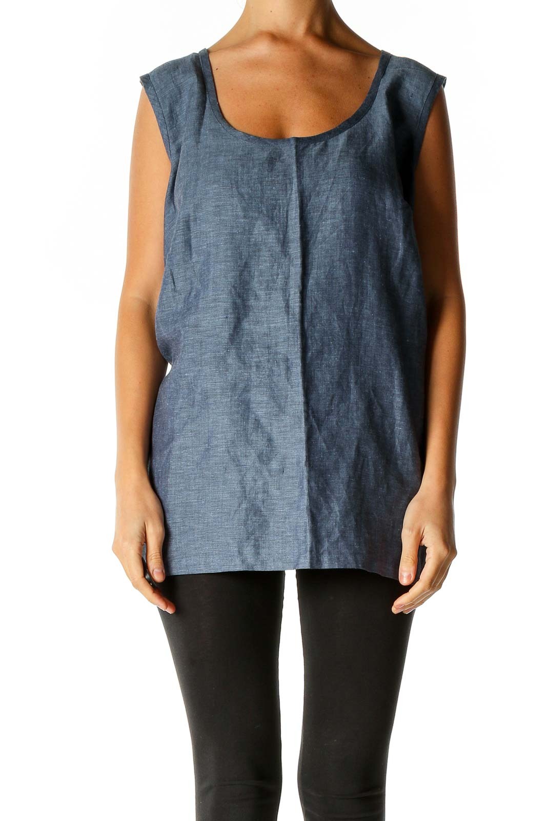 Gray Solid Casual Tank Top Front