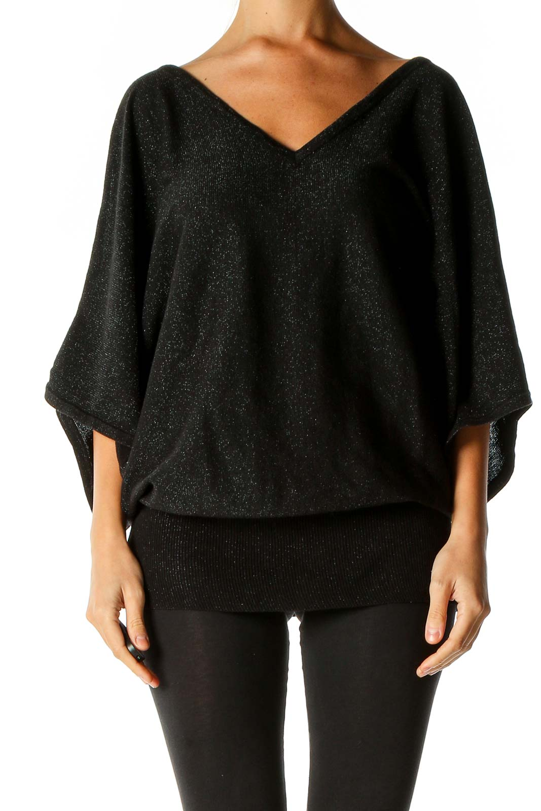 Black Textured Blouse Front