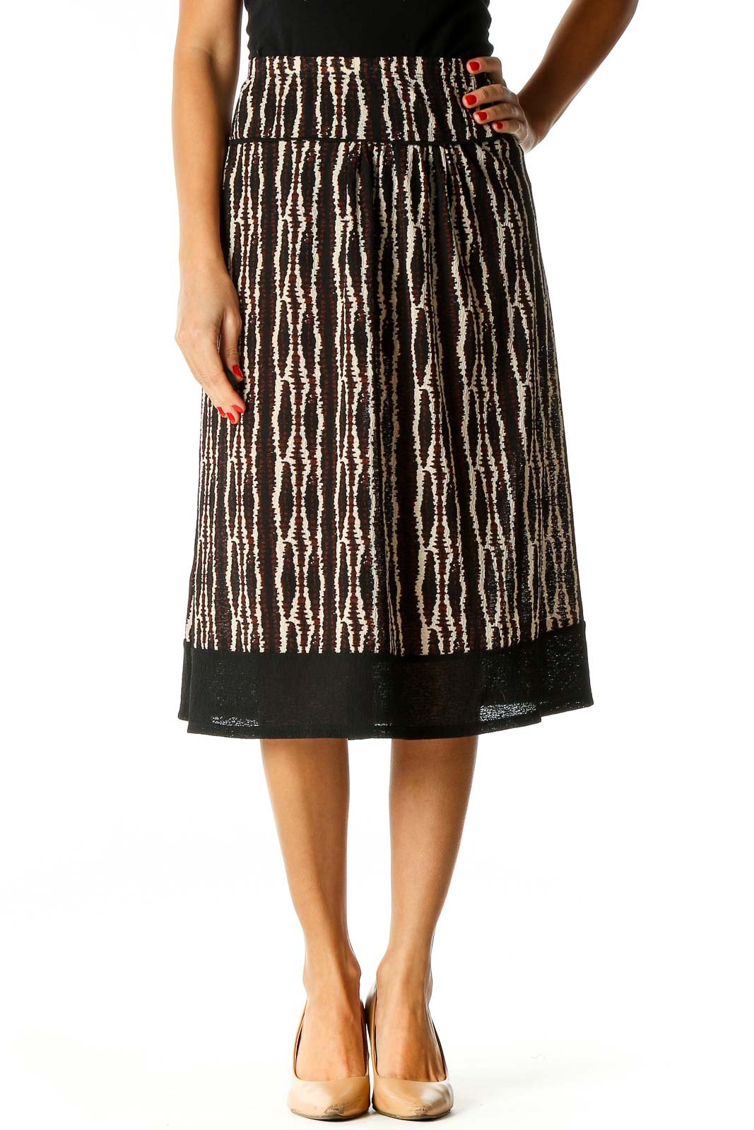 Brown Printed Brunch A-Line Skirt Front