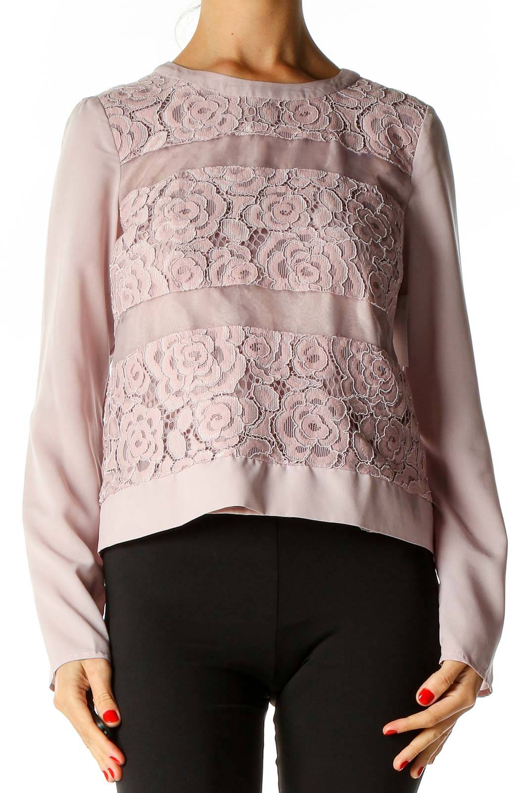 Pink Lace Chic Blouse Front