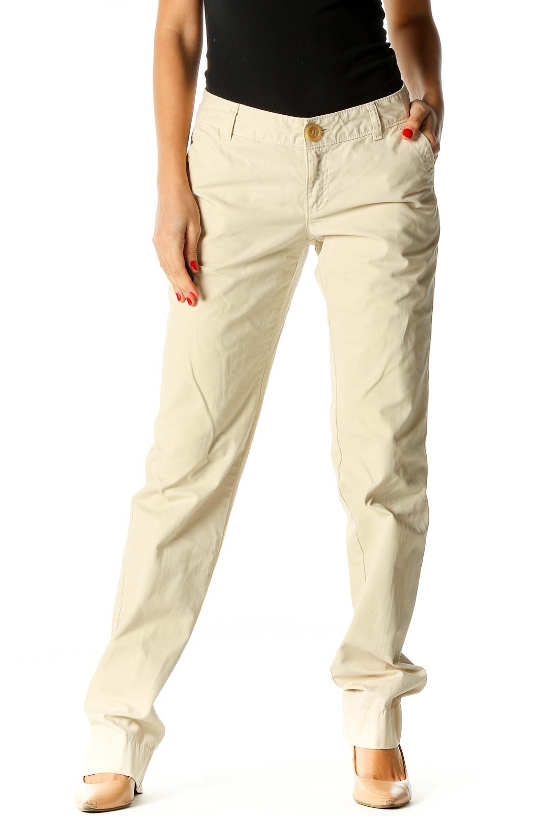 Beige Straight Leg Jeans Front