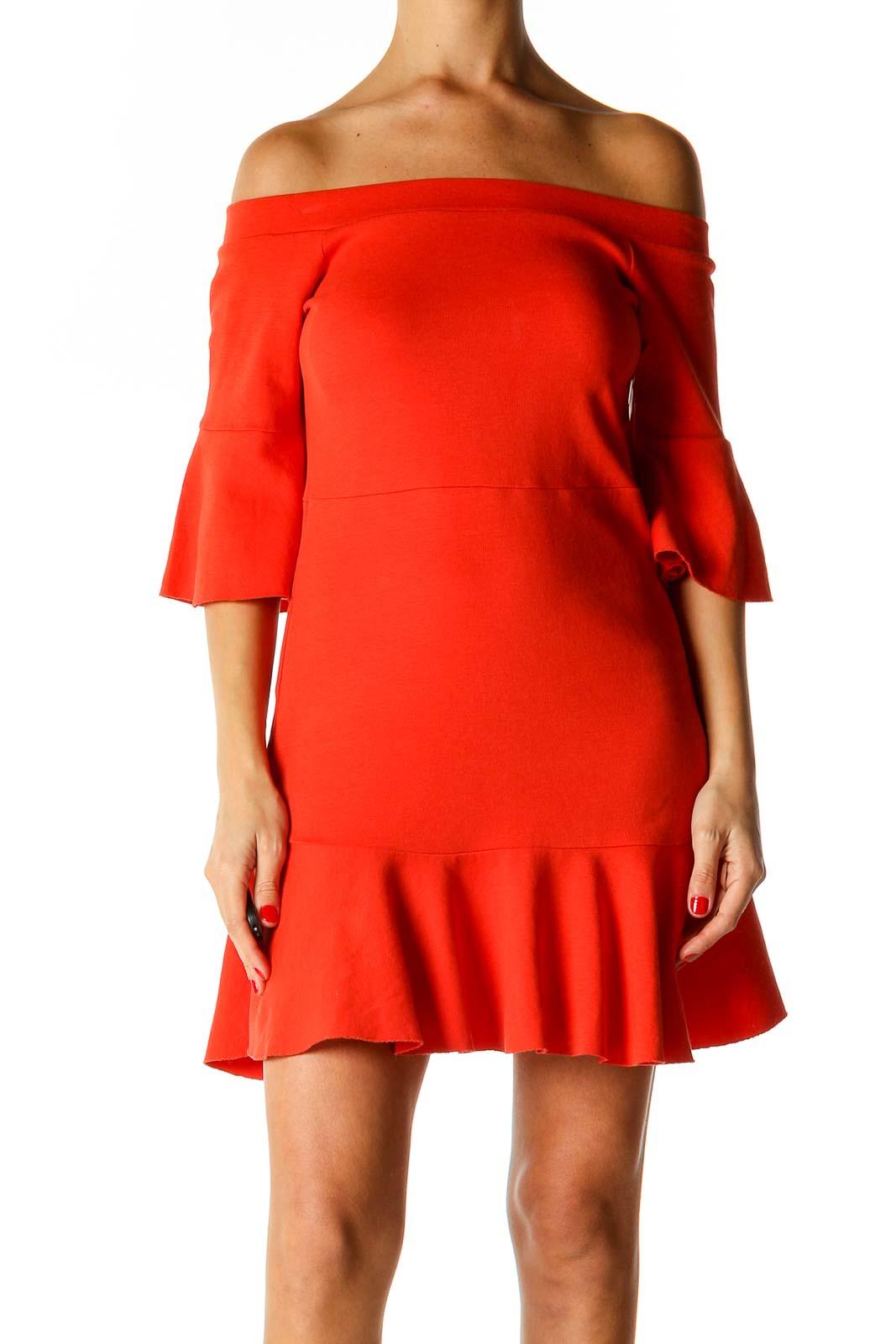 Orange Retro Flared Dress Front