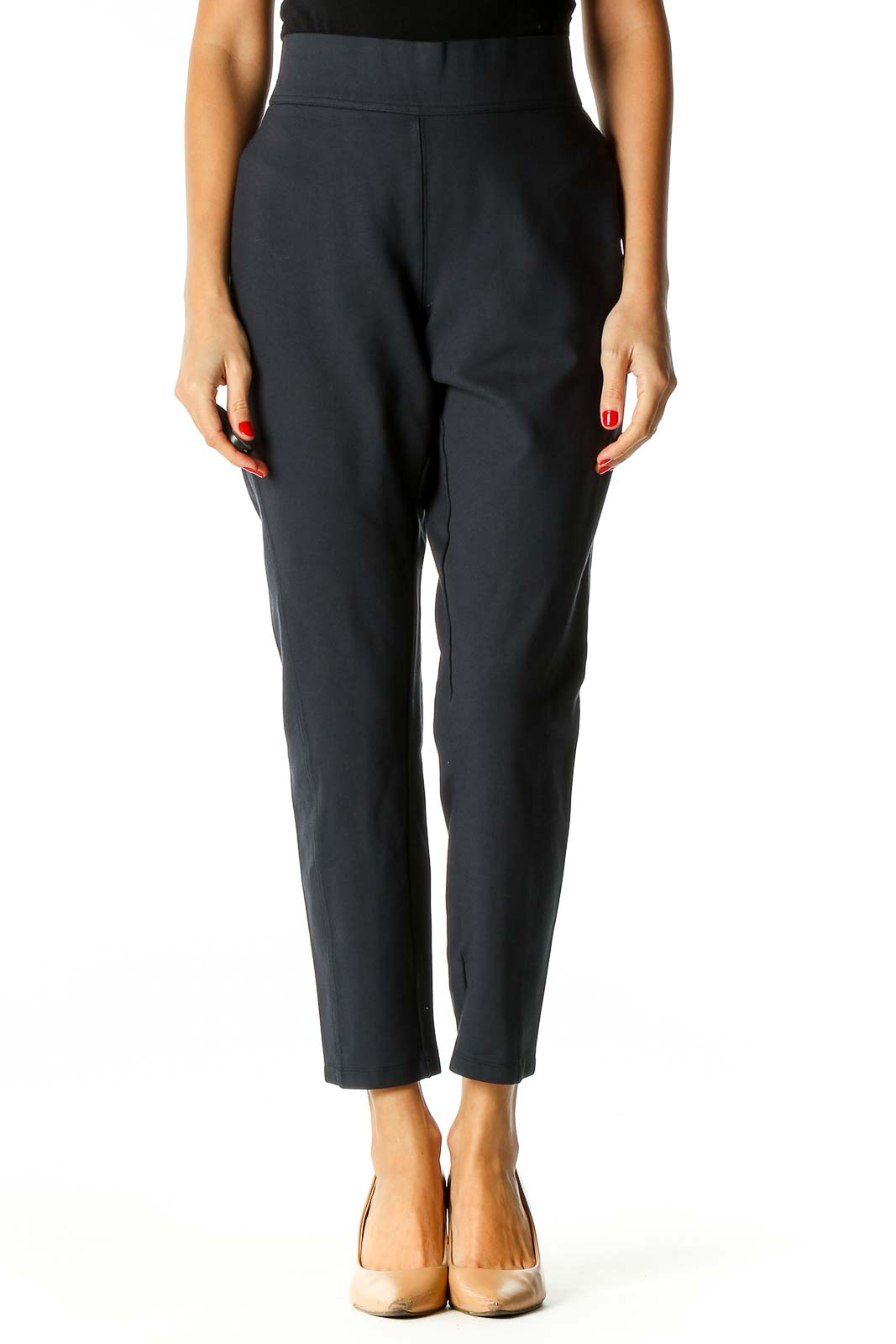 Blue Solid All Day Wear Trousers Front