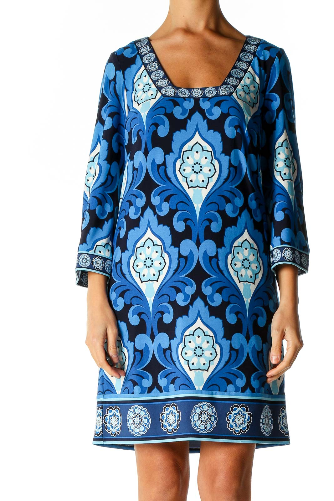 Blue Graphic Print Day A-Line Dress Front