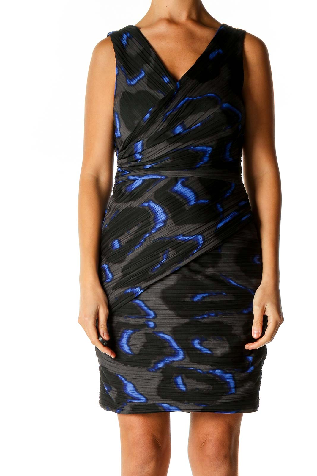 Black Animal Print Cocktail Sheath Dress Front